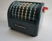 Great Retro Plastic Adding Machine by Chadwick, math, science, techno, green, teal - ViewridgeVintage
