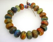 Handmade Lampwork Bead Set Caramel Slate Blue Iris Orange Rust Olive Green Khaki Aqua Teal Raku -- King of Night Vision - elizabethsbeads