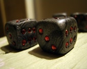 Pair of Gunmetal Grey, Black and Red Unique Dice (Six Sided - D6)