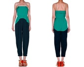 OurLittleDaisy: Green & Blue Contrastcolor Chic Sexy Jumpsuit - OurLittleDaisy