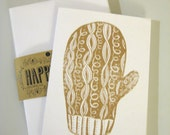 Gold Mitten Holiday Cards (set of 5 with envelopes)