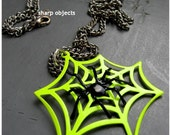 NEON - miniature spider and cut out web pendant, silver chain NECKLACE