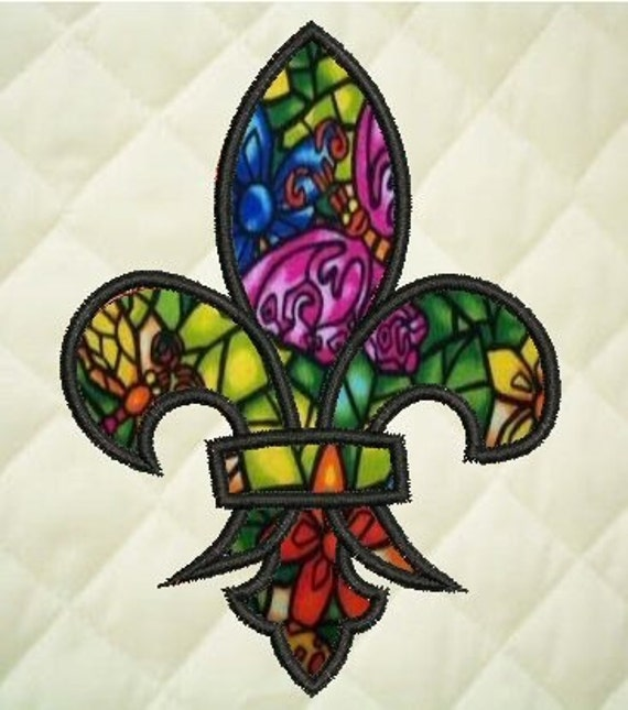 Fleur De Lis Mardi Gras Applique Embroidery Design From KeepsMeInStitches