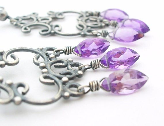 Amethyst Chandelier Earrings silver by bluebirdss on Etsy from etsy.com