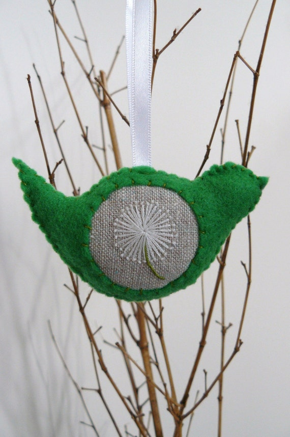 Green Lavender Scented Bird Christmas Decoration with Dandelion Embroidery