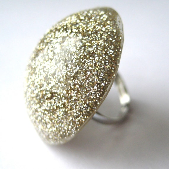 Glitter Pop Party Ring - Antique Silver