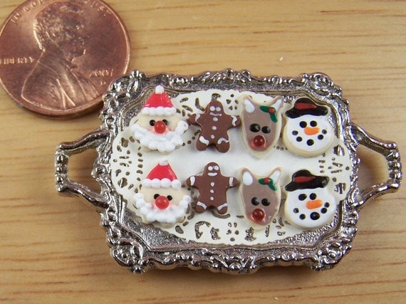 Dollhouse Miniature 8 Christmas Cookies on Metal Tray
