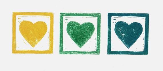 Linocut - Spring Hearts