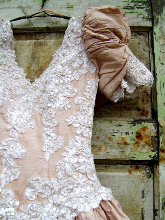 A Country Weddingdeconstructed vintage silk wedding dress from down de