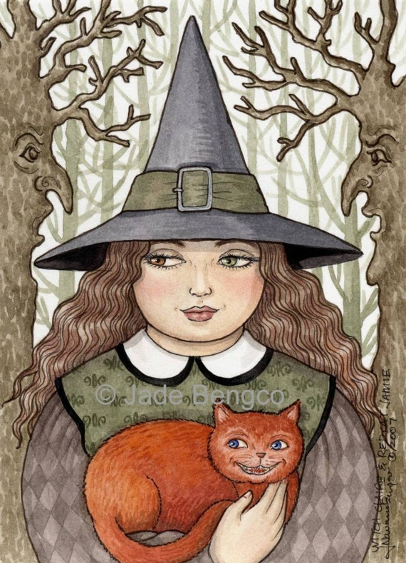 WITCH CLAIRE AND RED CAT JAMIE art print
