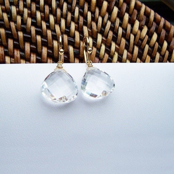 rock crystal quartz drop earrings, gold, medium, 11cts - jewelry by elizabeth lewis on etsy