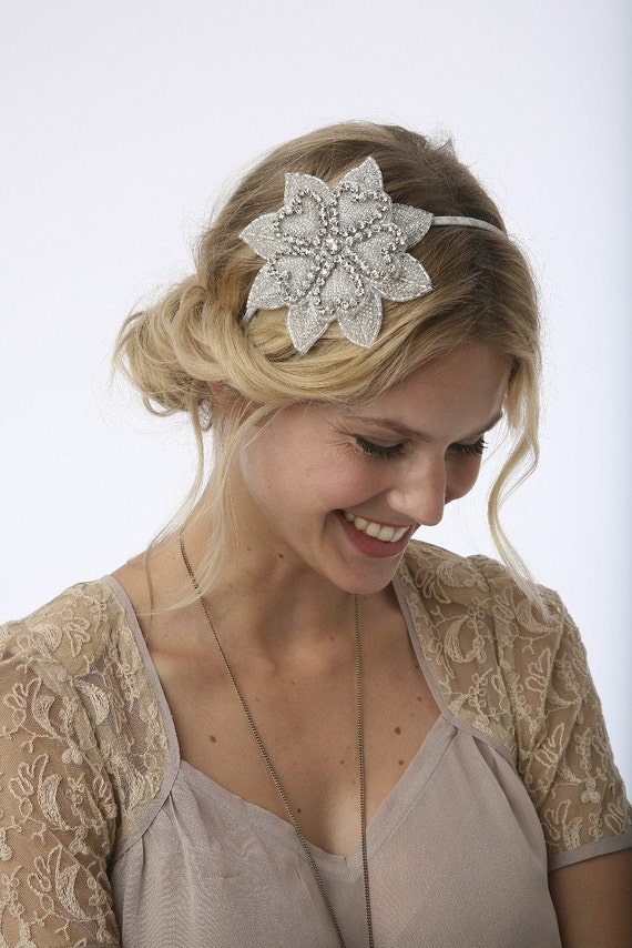 Swarovski Rhinestone Flower Applique on a skinny silk wrapped headband