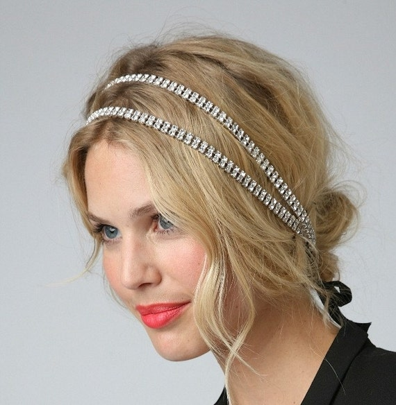 COLLEEN - Double Crystal Rhinestone Chain Headband or Halo