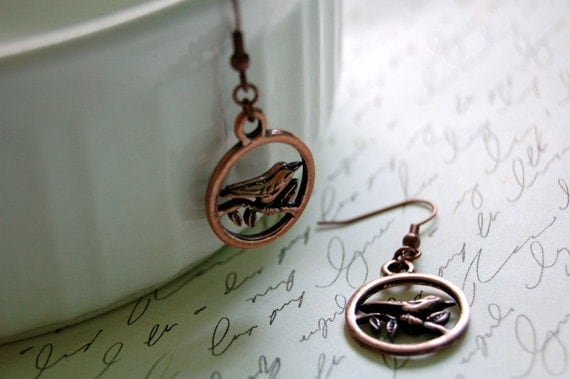 Antique Copper Bird Earrings