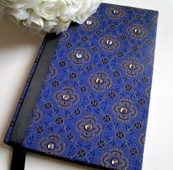 Wedding Guest Book Royal Blue and Gold or Personal Journal From javagirls