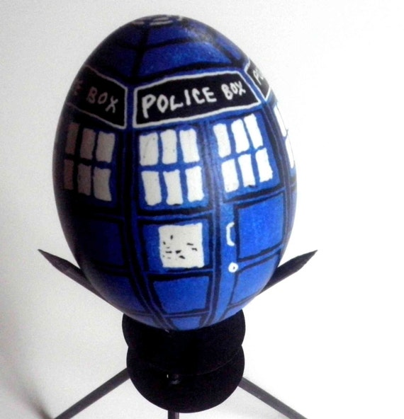 TARDIS EGG - Real Pysanky Style Chicken Egg - STAND INCLUDED