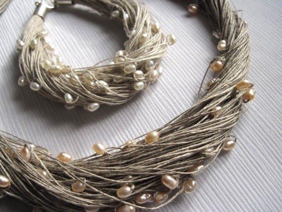 Natural Pearls Linen  Necklace and Bracelet Set