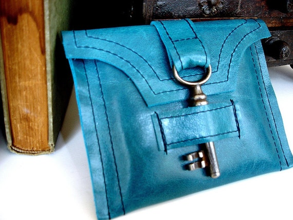 Turquoise Blue Genteel Leather Wallet with Antique Skeleton Key