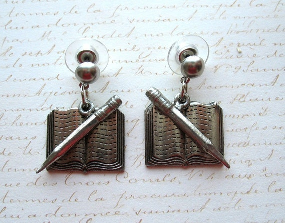 Writers Book and Pencil Earrings