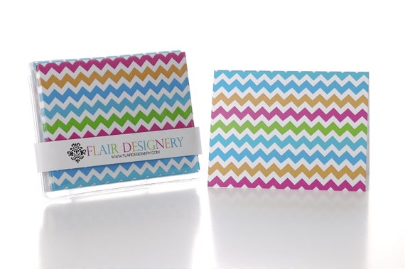 Multi-Color Chevron Folded Notecards
