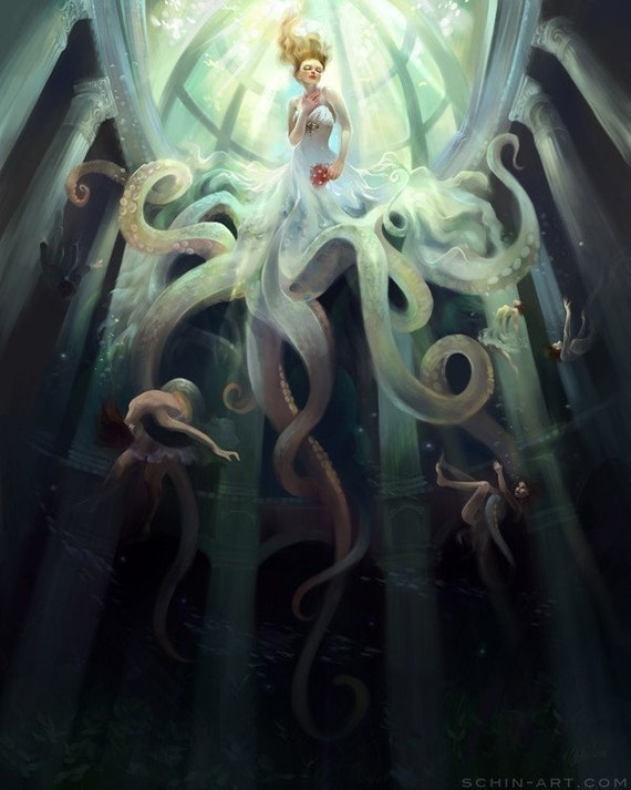 Ascension. octopus jellyfish steampunk bride art print