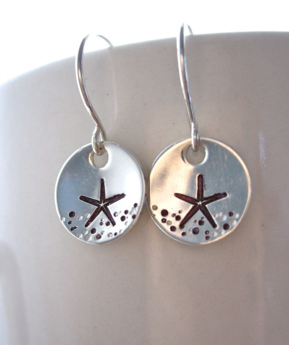 Hand stamped sterling silver starfish earrings