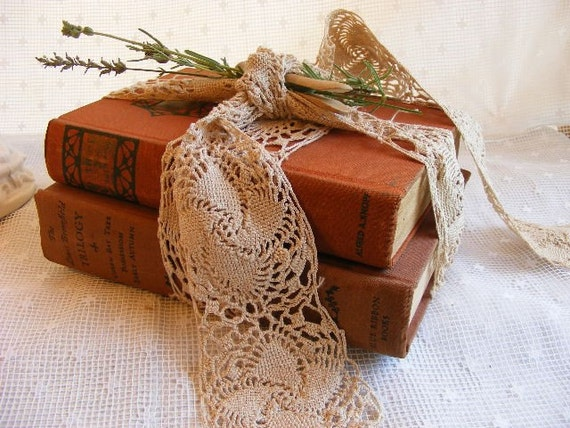 Antique Books  Aged Vintage  Tan Brown  Pair Bundled with Lavender and Lace