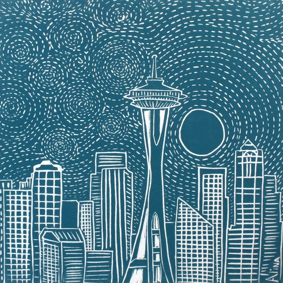Moonrise Over Seattle Linocut Hand Pulled ORIGINAL Print SIGNED