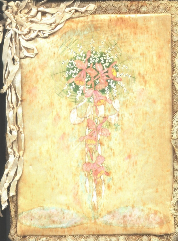 Vintage Homemade Wedding Book Silk Handpainted Lace Edged From joanne44