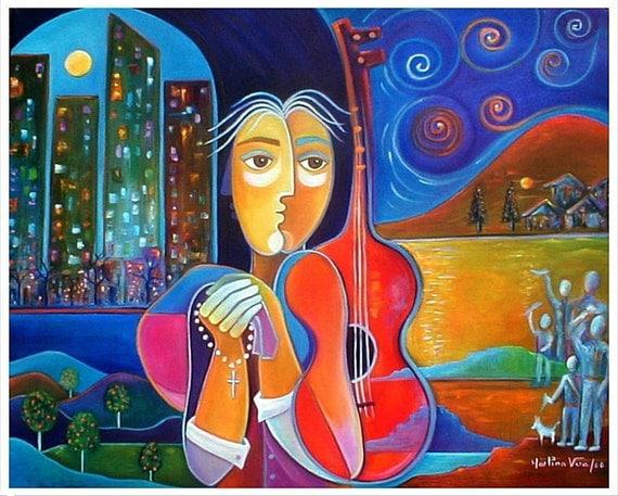 The Immigrant (El Imigrante) Original Cubist Abstract  Oil Painting Marlina Vera Art