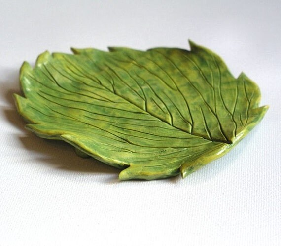 Falling Autumn leaves ... polymer clay decorative leaf plate