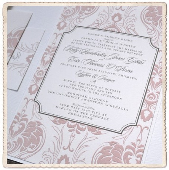 Wedding Invitation Damask Nouveau Design From HelloandCo