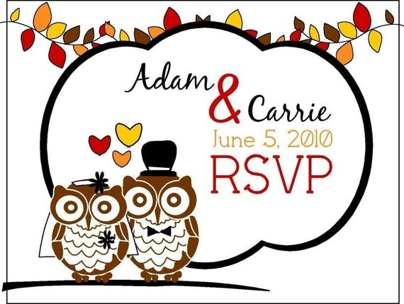 Fall Harvest Red Orange Gold Leaf Bride and Groom Owl Wedding Invitation