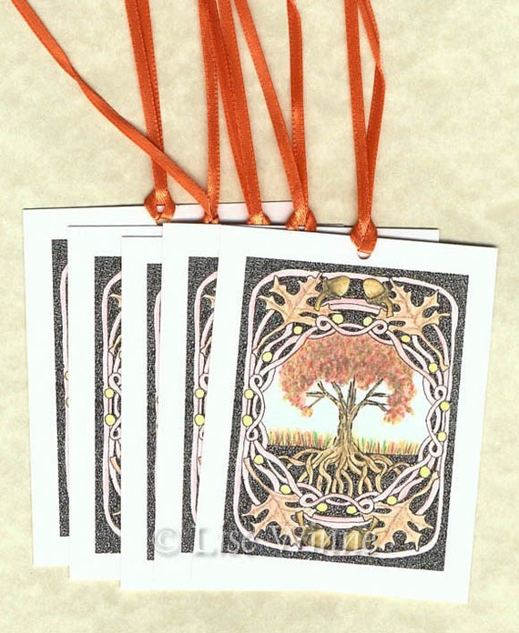 Oak Tree in Autumn, 8 art gift tags, vintage Celtic Renaissance inspired, tree of life