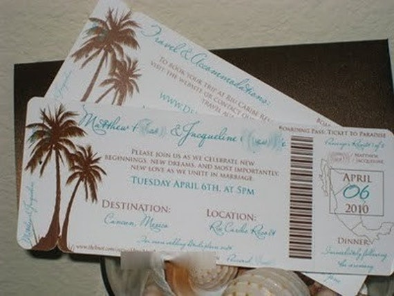 DEPOSIT Modern Palm Tree Boarding Pass Set