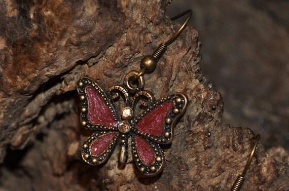 Butterfly earrings in wine and copper