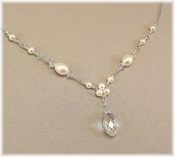 Trinity Pearl Necklace with Crystal Teardrop Delicate by Handwired from etsy.com