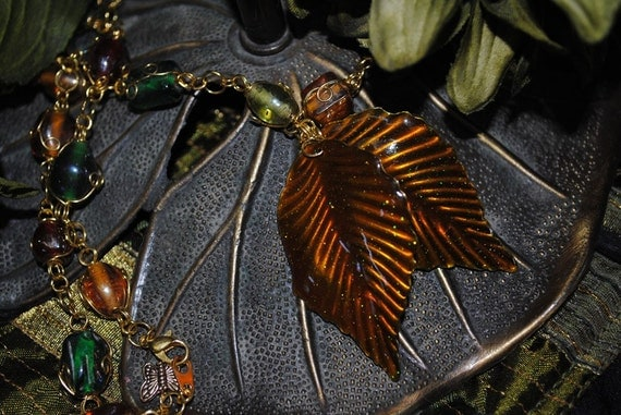 Autumn Leaves Beaded Necklace vintage style, hippy, bohemian
