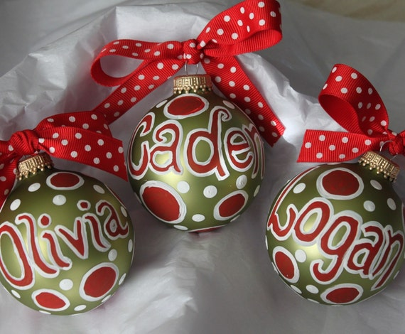 Polka Dot Personalized Ornament
