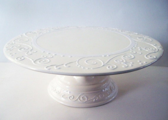 Wedding Cake Stand Elegant White on White