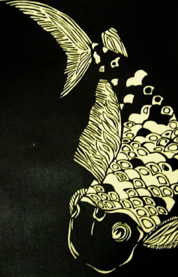Koi Fish Black and white handprinted linocut by SusanDavidArt