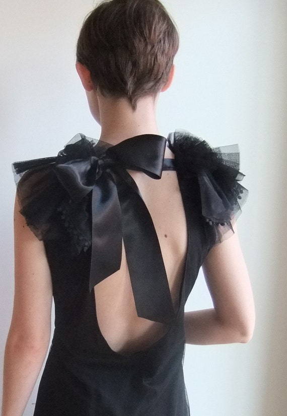 Holiday Holiday Holiday. Backless Plunge Little Black Dress (LBD). Custom Made To Order