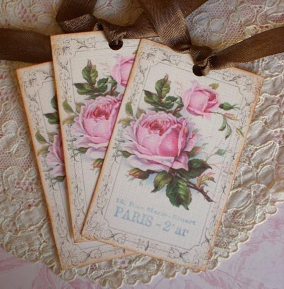 Vintage Paris Rose Tags - Set of 3