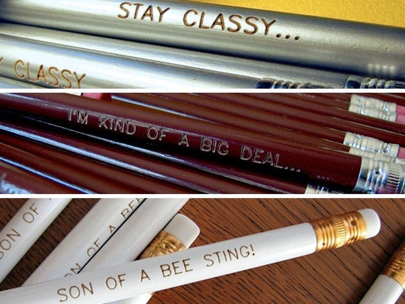 ANCHORMAN inspired pencil gift set Will Ferrell multipack