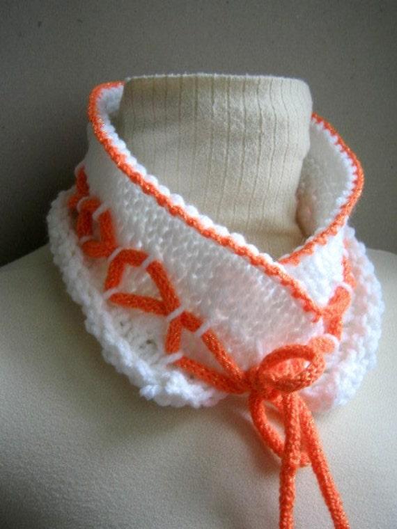 حمل و نقل رایگان سفید و نارنجی روسری Neckwarmer هدیه یقه برای زنان دختران