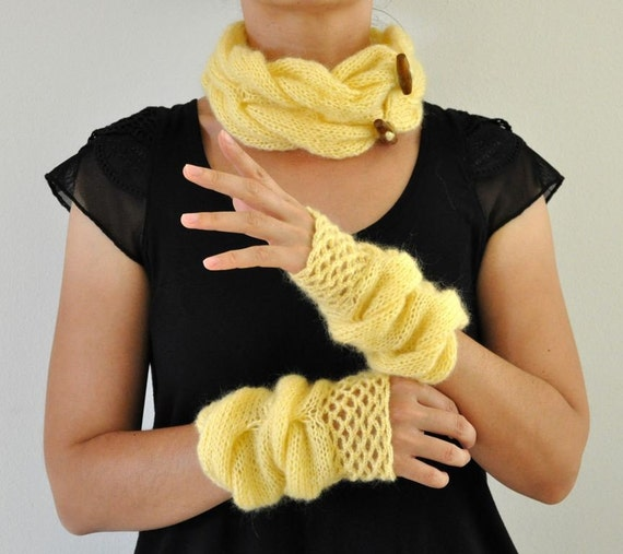 Cowl Gloves Set Hand Knit Fingerless Gloves Yellow Mohair Romantic Chic Winter Accessories Winter Fashion Gift for Her under 100