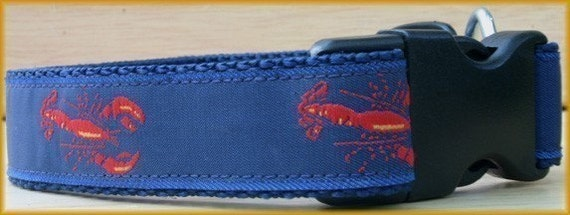 Designer Handmade Preppy Summer Lobster Lobstah Dog Collar (Style SMR29) New and Unique