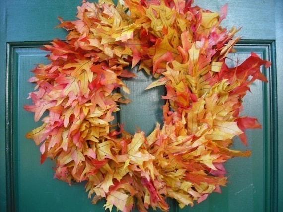 Preserved Autumn Oak Leaf Wreath