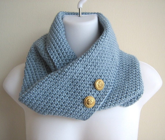 Pale Blue Infinity Cowl Brass Buttons PEYTON
