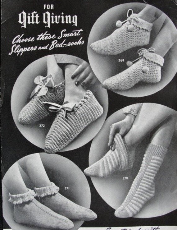 Vintage 1940s KNITTED CROCHETED Slippers,Bed Socks PATTERN Copy 4 Styles